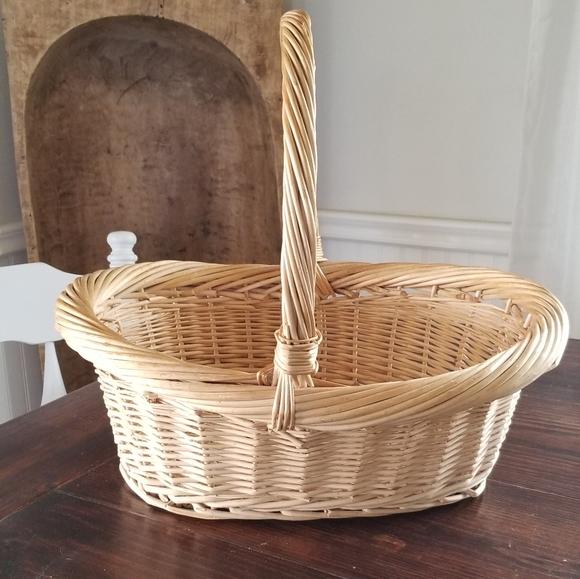 Rattan Wicker Harvest Gathering Basket